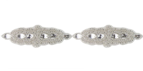 RHS-TRM-1500-SILVER.  CRYSTAL RHINESTONE TRIM - 2.25 INCHES WIDE - REPEAT LENGTH 7 INCHES