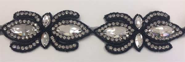RHS-TRM-1504-BLACK. CLEAR CRYSTAL RHINESTONE TRIM, WITH BLACK BEADS - 2 INCHES WIDE - REPEAT LENGTH 4 INCHES