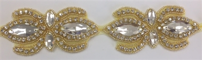 RHS-TRM-1504-GOLD. CLEAR CRYSTAL RHINESTONE TRIM, WITH GOLD BEADS - 2 INCHES WIDE - REPEAT LENGTH 4 INCHES