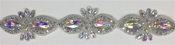 RHS-TRM-1507-AB. AB CRYSTAL RHINESTONE TRIM - 2 INCHES WIDE - REPEAT LENGTH 3 INCHES