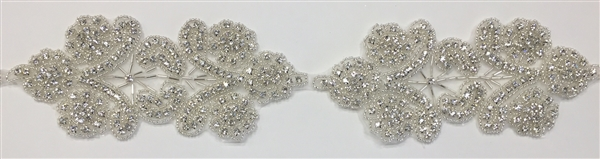 RHS-TRM-1511-SILVER.  CRYSTAL RHINESTONE TRIM - 2.75 INCHES WIDE - REPEAT LENGTH 6.5 INCHES