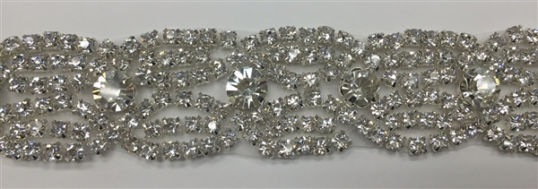 RHS-TRM-1520-SILVER.  CRYSTAL RHINESTONE TRIM - 1 INCH WIDE - REPEAT LENGTH 1 INCH