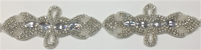 RHS-TRM-1546-SILVER.  CRYSTAL RHINESTONE TRIM - 6 INCHES WIDE - REPEAT LENGTH 3 INCHES