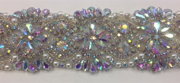 RHS-TRM-1550-AB.  Hot Fix or Sew On AB Crystal Rhinestone Trim With Pearls- 1.5 Inch Wide