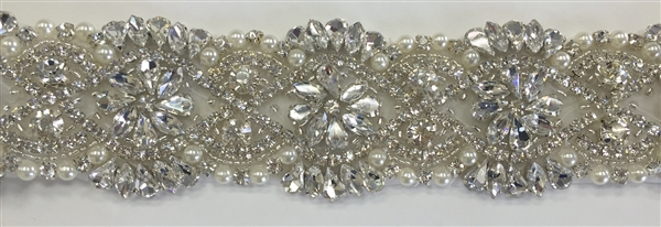 RHS-TRM-1550-SILVER. Hot-Fix or Sew-On Clear Crystal Rhinestone Trim WITH Pearls- 2 Inch Wide