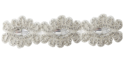 RHS-TRM-1564-SILVER.  CRYSTAL RHINESTONE TRIM - 3 INCHES WIDE - REPEAT LENGTH 6 INCHES