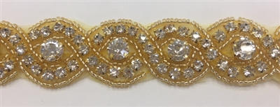 RHS-TRM-1570-GOLD.  CLEAR CRYSTAL RHINESTONE TRIM WITH GOLD BEADS - 1 INCH WIDE
