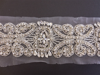 RHS-TRM-1572-SILVER.  CRYSTAL RHINESTONE TRIM - 2.75 INCHES WIDE - REPEAT LENGTH 5 INCHES