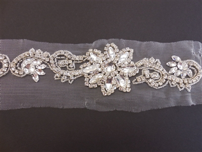 RHS-TRM-1573-SILVER.  CRYSTAL RHINESTONE TRIM - 2.5 INCHES WIDE - REPEAT LENGTH 9 INCHES