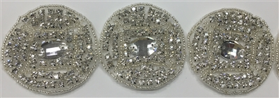 RHS-TRM-1580-SILVER.  CRYSTAL RHINESTONE TRIM - 2 INCHES WIDE - REPEAT LENGTH 2 INCHES