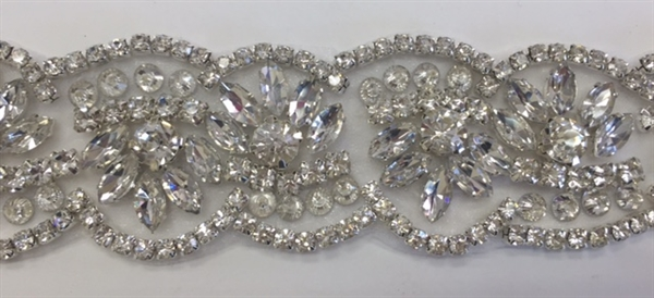 RHS-TRM-1800-SILVER.  HIGH QUALITY CRYSTAL TRIM - HOT FIX AND SEW-ON - 1.5 INCH
