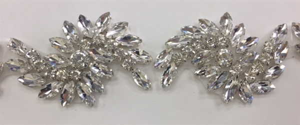 RHS-TRM-1804-SILVER.  Hot-Fix, Sew-On Rhinestone Trim - Clear Crystal Rhinestones - 2 Inch Wide - 11 Pieces in a Yard