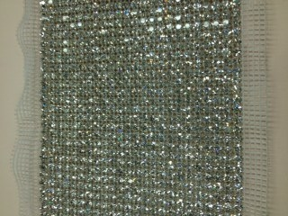 24-ROW CLEAR CRYSTAL RHINESTONE TRIM WITH SILVER BACKING - 5 INCH WIDE
