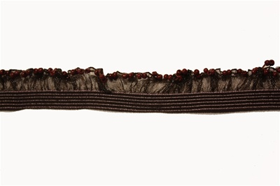 "RUF-STR-111-BROWN.  1/2""-wide Stretch Ruffle Lace"