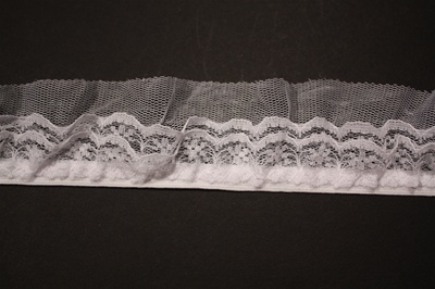 "RUF-STR-115-WHITE.  1.5""-wide Stretch Ruffle Lace"