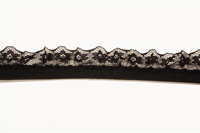 "RUF-STR-117-BLACK.  1/2""-wide Stretch Ruffle Lace"