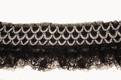 "RUF-STR-121-BLACK.  2.0""-wide Stretch Ruffle Lace"