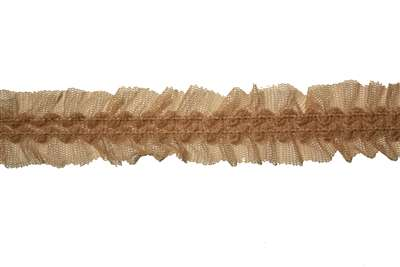 "RUF-STR-124-CAMEL.  1/2""-wide Ruffle Lace"