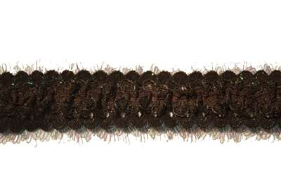 RUF-STR-126-BROWN.  Stretch Ruffle Lace