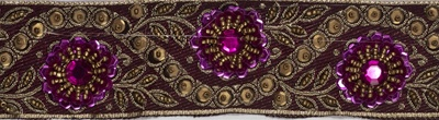TRM-IND-124.  Handmade Indian Trim with Beads, Rhinestones, and Sequins