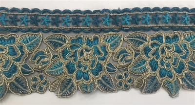 TRM-IND-201-TURQUOISE. Indian Trim with Turquoise Embroidery and Metallic Gold Borders