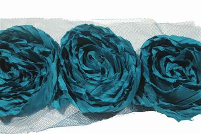 lns-flr-118-Teal.  Flower Lace